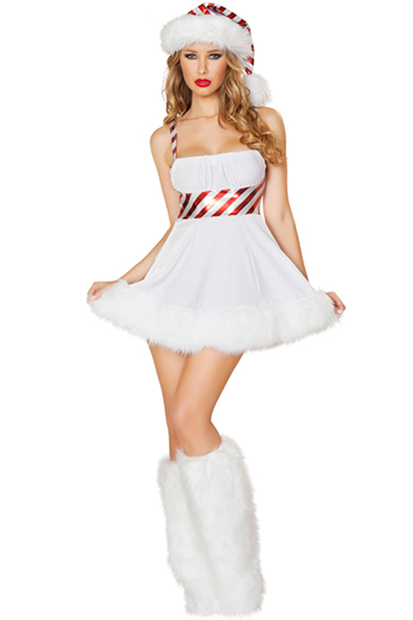 White Cute Ladies Lollipop Christmas Dress Hat Snowman Costume ...