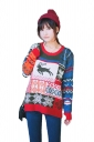 Womens Reindeer Patterned Pullover Christmas Sweater Navy Blue