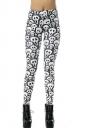 White and Black Cool Womens Fit Skeleton Leggings
