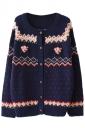 Navy Blue Cool Ladies Cardigan Heart Pattern Christmas Sweater