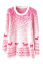 Pink Mohair Reindeer Pullover Gradient Ugly Christmas Sweater