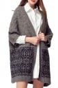 Gray Womens Labyrinth Patterned Thick Oversized Cardigan Sweater