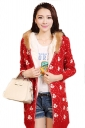 Red Oversized Ladies Duck Printed Fur Hooded Lined Sweater Coat