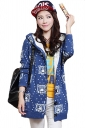 Blue Cute Womens Hooded Tiger Pattern Lined Long Sweater Coat