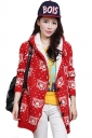Red Cute Womens Hooded Tiger Pattern Lined Long Sweater Coat