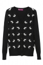 Black Ladies V Neck Sweater Reindeer Ugly Christmas Cardigan