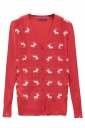 Red Ladies V Neck Reindeer Ugly Christmas Cardigan Sweater