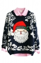 Navy Blue Santa Crew Neck Pullover Ugly Christmas Sweater