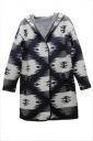 Gray Pretty Ladies Printed Hooded Loose Long Sleeve Sweater Coat