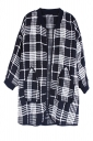 Black Womens Plaid Color Block Crew Neck Cardigan Sweater Coat