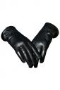 Black Pretty Ladies Bow Short Winter Warm Leather Gloves