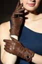 khaki Trendy Ladies Leather Warm Winter Short Gloves