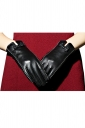 Black Ladies Bow Winter Lined Warm Short Leather Gloves