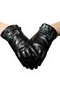 Black Womens Ruffle Bow Winter Warm Short Leather Gloves