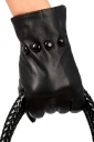 Black Pretty Womens Warm Thick Lined Leather Winter Short Gloves