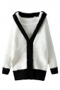 White Cute Ladies Warm Thick Panda Color Block Sweater Coat