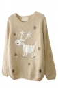 Beige Womens Reindeer Snowflake Jumper Ugly Christmas Sweater