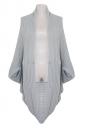 Gray Ladies Batwing Sleeve Plain Cardigan Knit Sweater Coat