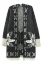 Black Ladies Snowflakes Patterned Mohair Cardigan Sweater Coat