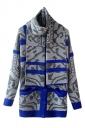 Blue Fashion Womens Argyle Thick Cardigan Scarf Sweater Coat