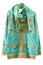 Green Fashion Womens Argyle Thick Cardigan Scarf Sweater Coat