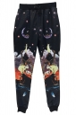 Black Animal Printed Cartoon Casual Modest Sweatpants