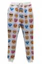 White Ladies Cute Emoji Printed Casual Jogger Sweatpants