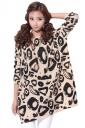 Ladies Geometric Printed Crew Neck Oversized Pullover Sweater
