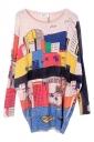 Beige Womens Cute Cartoon Boat Pattern Jumper Sweater