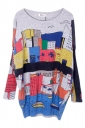 Gray Womens Cute Cartoon Boat Pattern Jumper Sweater