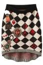 Black Trendy Womens Argyle Jewel Printed Knitted Mini Skirt