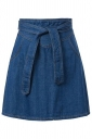 Blue Sash Fashion Womens Midi Denim Skirt