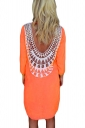 Orange Lace Crochet Cut Out Backless Sexy Plain Womens Shift Dress
