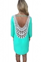 Green Lace Crochet Cut Out Backless Sexy Plain Womens Shift Dress
