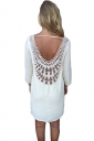 White Lace Crochet Cut Out Backless Sexy Plain Womens Shift Dress