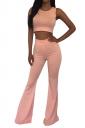 Pink Crop Top Bell Bottom Ladies Sleeveless Pants Suit