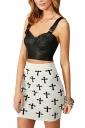 White Cross Printed High Waist Slimming Sexy Ladies Mini Skirt