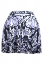 Black Flower Rabbit Printed Slimming Womens Pleated Skirt