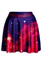 Watermelon Red Womens Slimming Galaxy Printed Pleated Skirt