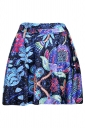 Watermelon Red Womens Slimming Flower Printed Pleated Skirt
