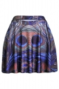 Green Womens Slimming Peacock Feather Printed Pleated Skirt