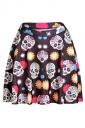 Chestnut Womens Slimming Floral Skull Printed Pleated Skirt