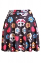 Brown Womens Slimming Floral Skull Printed Pleated Skirt