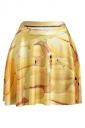 Yellow Womens Slimming Banana Printed Pleated Skirt