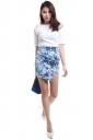 Womens Irregularly Floral Printed Sexy Chic Mini Skirt Navy Blue