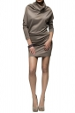 Womens Plain Turtleneck Long Sleeve Shift Dress Gray