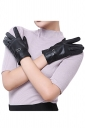 Womens Winter Warm Short Leather Gloves Black