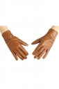 Womens Winter Warm Short Leather Gloves Brown