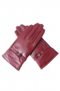Womens Winter Warm Short Leather Gloves Ruby