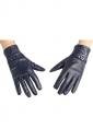 Womens Winter Warm Short Leather Gloves Navy Blue